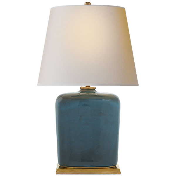 Mimi Table Lamp in Oslo Blue with Natural Paper Shade 1