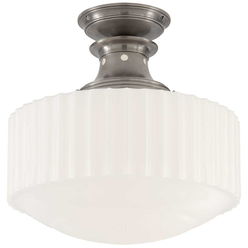 Milton Road Flush Mount in Antique Nickel with White Glass 1